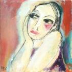 Portret vrouw oranje